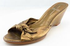 Linea Paolo Slides Gold Synthetic Women Shoes Size 7.5 Medium (B, M)