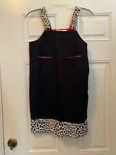 French Toast Black Jumper Dress w Fuzzy dalmation print straps/trim 14