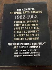 Complete graphic arts catalog 1962-1963