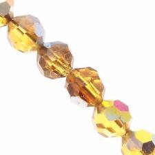 Czech Vintage topaz faceted tin cut part metallic glass beads (24) 6mm