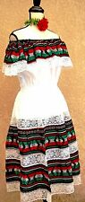 5 de mayo Mexico black white multicolor dress fiesta Adelita folklorico L/XL vtg
