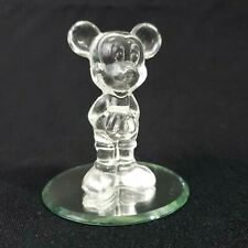 """Disney Clear Glass Mickey Mouse Figurine 3.5"""" Collectable Shelf Display Decor"""