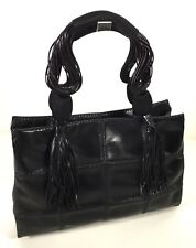 DESMO Italy Black Leather Square Stitch Tassel Hand Bag NEVER USED