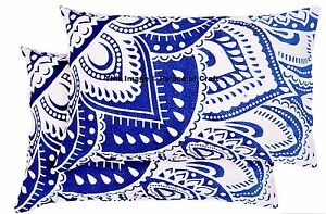 2 PC Indian Ombre Mandala Cushion Cover Blue White Rectangle Bed Pillow Case Set