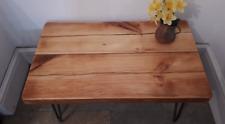 rustic coffee table reclaimed pine wood beams sleepers hairpin legs metal legs ,