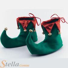 Lujo Rojo y Verde Elfo Botas Zapatos Duende Navidad Unisex Accesorio de disfraz