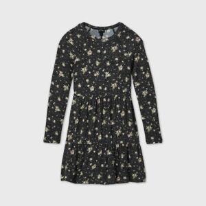 Girls' Tiered Long Sleeve Dress - art class Black/White XXL 18