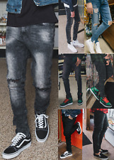 Mens Ripped Skinny Jeans Stretch Denim Pants Slim Fit Jeans Skinny Track Pants