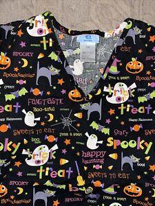 SB Scrubs Halloween Top - Large Black Cat Trick Or Treat Spider Ghost Bat