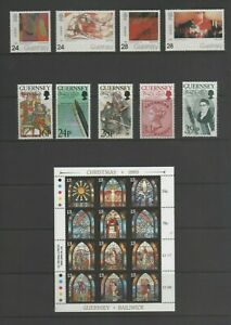 2 x Guernsey Mint MNH Sets, Art & de La Rue + Christmas Sheet