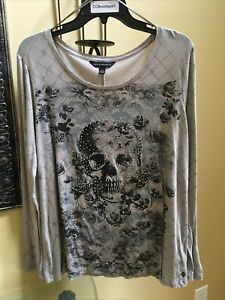 Rock & Republic Women's XL Skull Roses Embellished L/S Grey tee with stretch