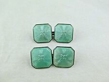 Vintage WACHENHEIMER ART DECO Sterling Silver Green GUILLOCHE Enamel Cuff links