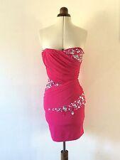 JANE NORMAN Hot Pink Embellished Boned Corset Dress UK 8