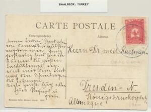 "TURKEY 1905 20p ON CARD BAALBECK TO DRESDEN ""TEMPLE OF JUPITOR"" (SEE BELOW"