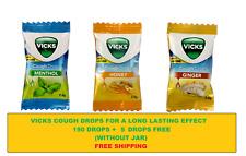 Vicks Cough Drops 3 Flavors Menthol, Honey & Ginger Mixed - 190+5 (free) Drops