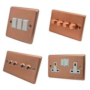 Brushed Matt Satin Copper Plug Sockets Light Switches Dimmers - Whole Range W