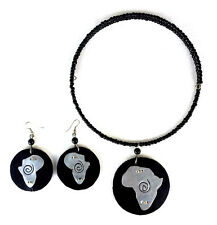 GORGEOUS tribal Pendant silver metal african map leather Necklace Earrings Set