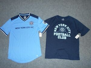 2 FANATICS NEW! W/TAGS MLS NEW YORK CITY FC MENS LARGE SOCCER SHIRTS         A1