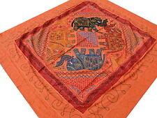 Éléphant indien Couvre-lit Tribale Orange Brodé main Tenture Dessus de lit Inde