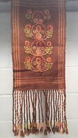 Vintage Wool Tapestry Wall Art Stitching 70s Retro Spice Colors Boho Fringe FREE