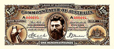 2 X  NED KELLY  NOVELTY  100  POUND BANK NOTES  PRE DECIMAL  RIDDLE  SHEEHAN