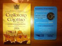 BLISTER 2 EURO SAINT MARIN 2006 CHRISTOPHE COLOMB COMMEMORATIVE NEUF