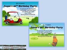 10 x Personalised Golf Birthday Invitations Party Invites & Envelopes Any Age DD