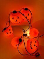 Vintage Halloween Blow Mold Pumpkin Jack O Lantern 7 Count String Light Set READ