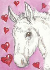 Aceo original Watercolor Art Card Horse hybrid Shaggy Little Mule Colt Be Mine