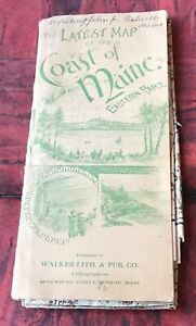 Latest Map of the Coast of Maine Eastern Part 1926 Walker Lith.& Pub.Co.