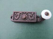 Original Victorian Aesthetic Cast Iron Sash Window Lock w/ White Porcelain Knob