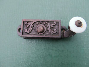 Original Victorian Aesthetic Cast Iron Sash Window Lock w/ White Porcelain Knob