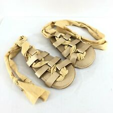 Baby Girls Gladiator Sandals Lace Up Faux Leather Gold Size 12-18 Months