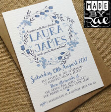 Personalised Wedding Invites Rustic Blue & White Floral SAMPLE Vintage Handmade