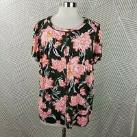 Roz Ali Size 1X 16/18 Blouse Top shirt Hawaiian Tropical crochet detail pink