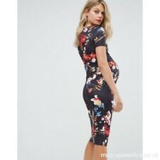 ASOS Bluebelle Floral Print Navy Maternity Fitted Dress size 8