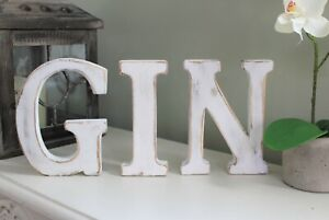 LARGE SHABBY CHIC VINTAGE WHITE WOODEN LETTERS GIN BAR GIFT FREESTANDING