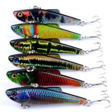 6x VIB Hardbody Vibe Fishing Lures Bait Hooks Bass Flathead Crankbait Tackle 7cm