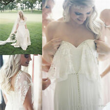 Chiffon Layered Boho Bridal Gown Lace Open Back Wedding Dress Size 4 6 8 10 12++