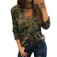 Sexy Women V-Neck Lace Up Camo T-Shirt Long Sleeve Casual Loose Blouse Shirt  BE