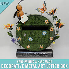 NEW Green Decorative Metal Art Letterbox Mailbox Hand Made & Painted