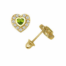 Topaz & Peridot Screw Back Halo Stud Earrings 14k Yellow Gold