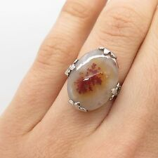 Vtg 925 Sterling Silver Real Agate Gemstone Crystal Ring Size 5