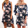 Sexy Women Summer Floral Off Shoulder Party Casual Loose Beach Short Mini Dress