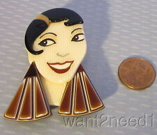 LEA STEIN PARIS new JOSEPHINE PIN hommage to Baker brown flapper girl face