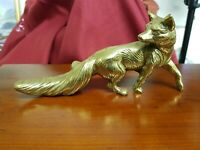 Vintage Solid Brass Heavy Fox / German Shepherd?  Figurine Desk Ornament