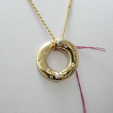 Italian 14K Yellow Gold Circle Shaped Diamond Pendant On 16 Inch Necklace