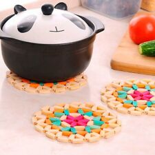 Round Bamboo Placemat Heat Insulation Hollow Pad Desk Table Coasters Pot Cup Mat