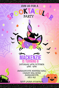 Personalised Unicorn Halloween Party Invitations Birthday Invites Inc Envelopes