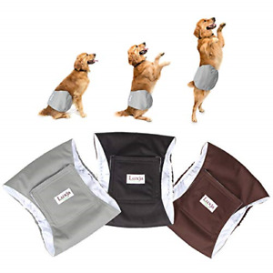 LUXJA Reusable Male Dog Diapers Pack of 3, Washable Puppy Belly Band,